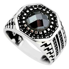 3.31cts natural black onyx topaz 925 sterling silver mens ring size 9 c1090