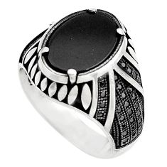 6.42cts natural black onyx topaz 925 sterling silver mens ring size 7.5 c4001