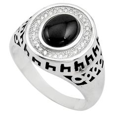 3.56cts natural black onyx topaz 925 sterling silver mens ring size 10.5 c4020