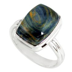 6.33cts natural black pietersite 925 silver solitaire ring size 8 p79658