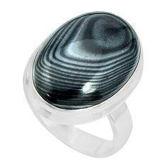 14.23cts natural black psilomelane 925 silver solitaire ring size 6.5 p32964