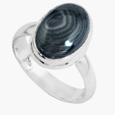 5.11cts natural black psilomelane 925 silver solitaire ring size 7 p45885