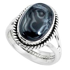 7.00cts natural black psilomelane 925 silver solitaire ring size 8 p45888