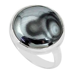 14.88cts natural black psilomelane 925 silver solitaire ring size 8 p80505