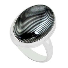 13.77cts natural black psilomelane 925 silver solitaire ring size 7 p80506