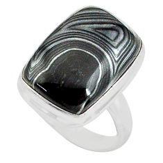 12.83cts natural black psilomelane 925 silver solitaire ring size 6.5 p80507