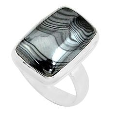 12.71cts natural black psilomelane 925 silver solitaire ring size 6.5 p80509