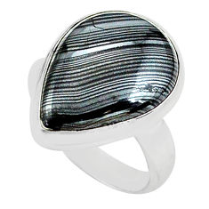 14.68cts natural black psilomelane 925 silver solitaire ring size 7 p80514
