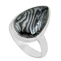 11.23cts natural black psilomelane 925 silver solitaire ring size 7.5 p80516