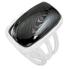 15.11cts natural black psilomelane 925 silver solitaire ring size 8 p80799