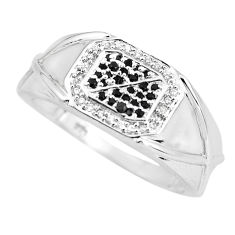 1.96cts natural black sapphire topaz 925 silver mens ring size 8.5 c3801