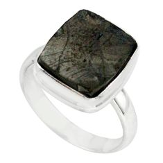 5.81cts natural black shungite 925 silver solitaire ring jewelry size 7.5 p79443