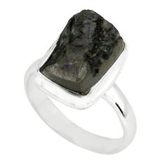 6.33cts natural black shungite 925 silver solitaire ring jewelry size 8 p79455