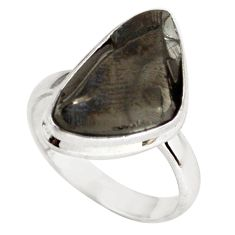 9.04cts natural black shungite 925 silver solitaire ring jewelry size 8 p79463