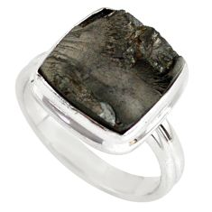 8.28cts natural black shungite 925 silver solitaire ring jewelry size 8 p79466