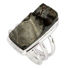 9.65cts natural black shungite 925 silver solitaire ring jewelry size 6.5 p79492