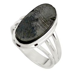 8.22cts natural black shungite 925 silver solitaire ring jewelry size 8.5 p88921