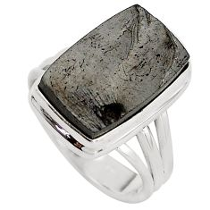 8.80cts natural black shungite 925 silver solitaire ring jewelry size 8 p88925