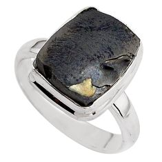 5.11cts natural black shungite 925 silver solitaire ring jewelry size 8 p88926