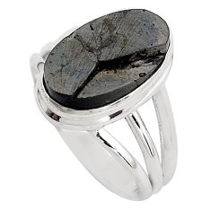 6.02cts natural black shungite 925 silver solitaire ring jewelry size 8.5 p88927