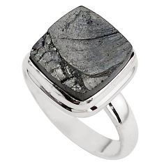 6.10cts natural black shungite 925 silver solitaire ring jewelry size 8 p88928