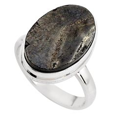 10.29cts natural black shungite 925 silver solitaire ring jewelry size 8 p88936