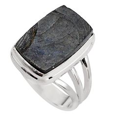 8.54cts natural black shungite 925 silver solitaire ring jewelry size 7.5 p88937