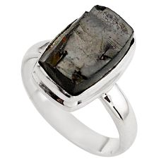 4.69cts natural black shungite 925 silver solitaire ring jewelry size 7.5 p88939