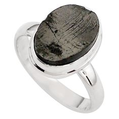 5.36cts natural black shungite 925 silver solitaire ring jewelry size 8.5 p88940