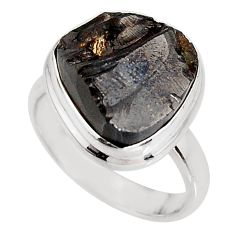 7.73cts natural black shungite 925 silver solitaire ring jewelry size 7 p92409
