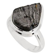 7.82cts natural black shungite 925 silver solitaire ring jewelry size 8 p92411