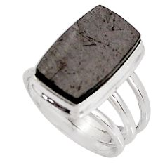 8.16cts natural black shungite 925 silver solitaire ring jewelry size 7.5 p92414