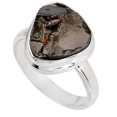 6.85cts natural black shungite 925 silver solitaire ring jewelry size 8.5 p92416