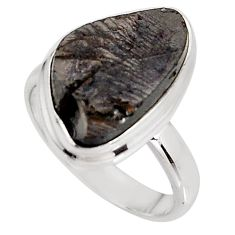 7.79cts natural black shungite 925 silver solitaire ring jewelry size 7.5 p92420