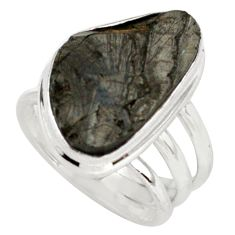 12.52cts natural black shungite 925 silver solitaire ring size 6.5 p79486
