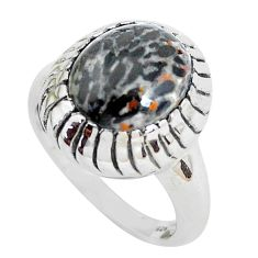 Natural black stingray coral from alaska 925 silver solitaire ring size 7 d31306