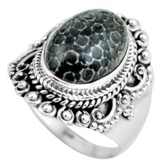 Natural black stingray coral from alaska 925 silver solitaire ring size 9 d32151