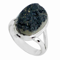 10.78cts natural black tektite 925 silver solitaire ring jewelry size 8.5 p46045