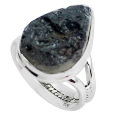 14.68cts natural black tektite 925 silver solitaire ring jewelry size 8 p46046