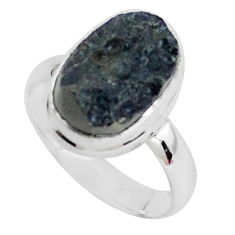 8.05cts natural black tektite 925 silver solitaire ring jewelry size 9 p46047