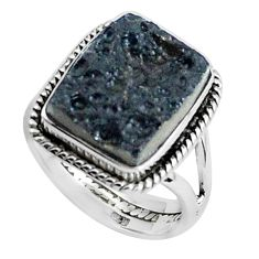 11.89cts natural black tektite 925 silver solitaire ring jewelry size 9 p46048