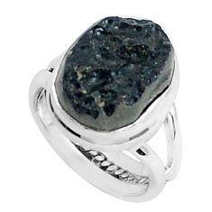 7.40cts natural black tektite 925 silver solitaire ring jewelry size 5.5 p46050
