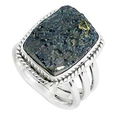 14.12cts natural black tektite 925 silver solitaire ring jewelry size 7.5 p46052