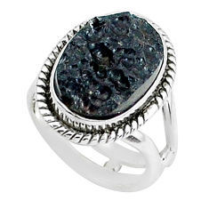 6.31cts natural black tektite 925 silver solitaire ring jewelry size 5 p46056