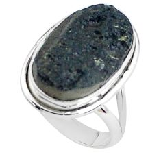 13.77cts natural black tektite 925 silver solitaire ring jewelry size 9.5 p46059