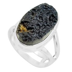 10.01cts natural black tektite 925 silver solitaire ring jewelry size 6.5 p61443