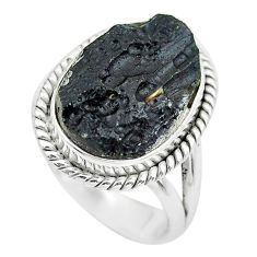 9.18cts natural black tektite 925 silver solitaire ring jewelry size 6.5 p61445