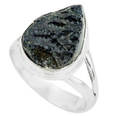 10.31cts natural black tektite 925 silver solitaire ring jewelry size 9 p61446