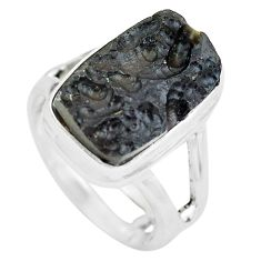 6.53cts natural black tektite 925 silver solitaire ring jewelry size 5.5 p61447