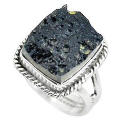 7.78cts natural black tektite 925 silver solitaire ring jewelry size 6.5 p61448